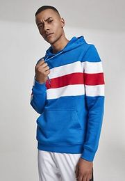 Urban Classics Chest Striped Hoody brightblue/white/firered