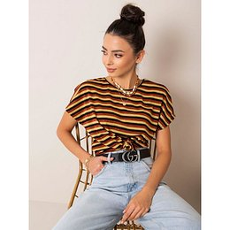RUE PARIS Brown and gold striped blouse