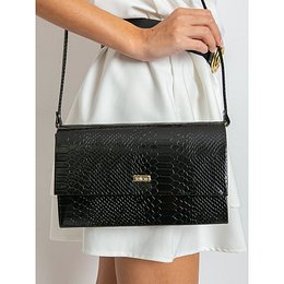 Black lacquered clutch bag with animal patterns