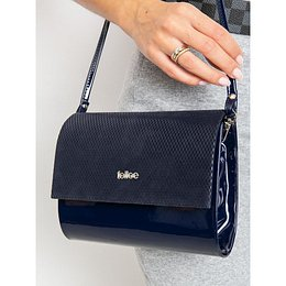 Lacquered navy blue clutch bag