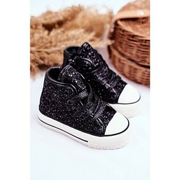 Children's Sneakers High Shiny Black Ally