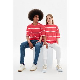 Trendyol Red Unisex Oversize Striped T-Shirt