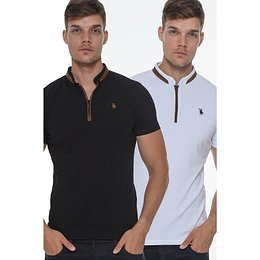 TWIN SET T8571 DEWBERRY ZIPPERED MEN's T-SHIRT-WHITE-BLACK