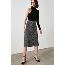 Trendyol Black Velvet Fabric Detailed Skirt