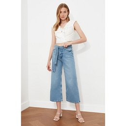 Trendyol Blue Lacing Detail High Waist Culotte Jeans