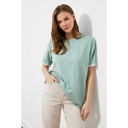 Trendyol Mint Tassel Detailed Boyfriend Knitted T-Shirt