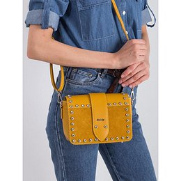 Leather satchel with studs, dark yellow