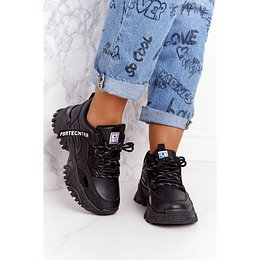 Women's Sneakers On A Chunky Sole Black Laugh