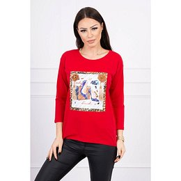 Blouse with graphics 3D and decorative pom pom red