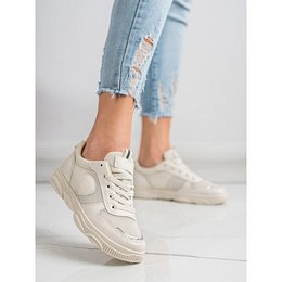 IDEAL SHOES BEIGE SNEAKERS WITH MESH