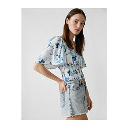 Koton Women's Blue Floral Blouse Gathered Detailed Blouse