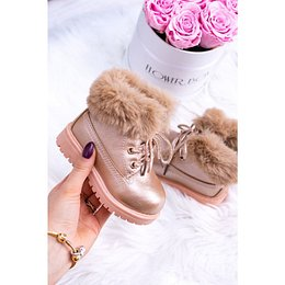 Pink Gold Insulated Baby Booties Trapery Fobos