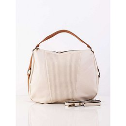 Cream women´s bag with a belt