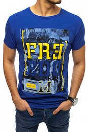 Blue men's T-shirt with print RX4532